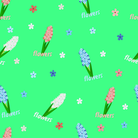 flower pattern on a green background, hyacinths Stock Illustratie