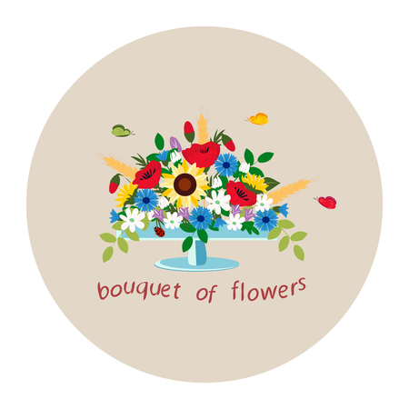 bouquet of wildflowers in a vase on brown background, vector illustration
