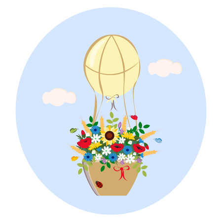 balloon with bouquet of wildflowers on a blue background