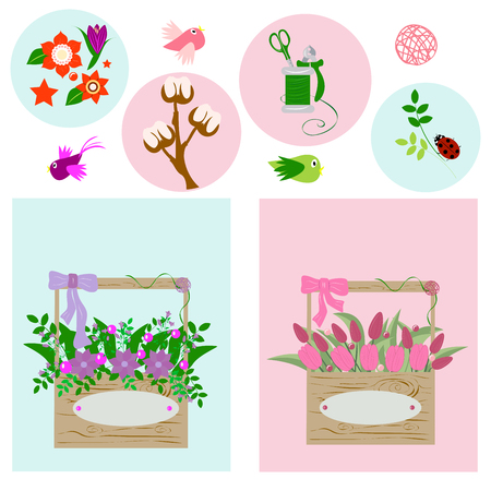 wooden boxes with flowers on blue and pink background, vector illustration