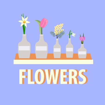 flowers in vases on blue background, vector illustration