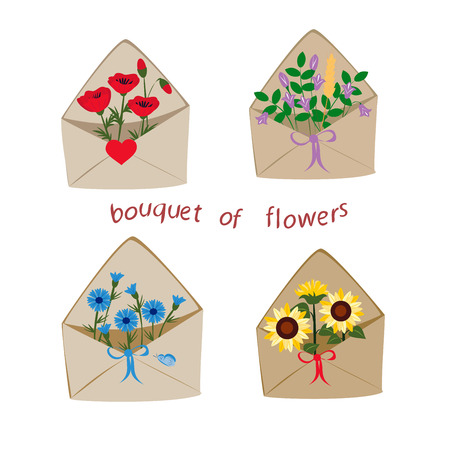 set of wildflowers in envelopes on a white background