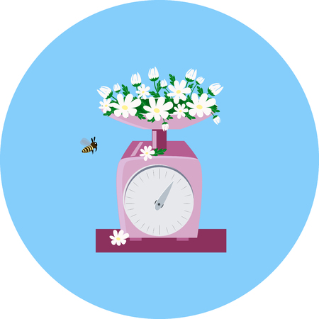 white daisy. and pink kitchen scales on blue background. vector illustration