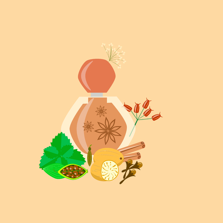 spicy perfume fragrance. bottle on a brown background Ilustracja