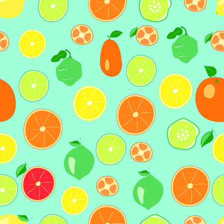 citrus pattern on a green background. vector illustration