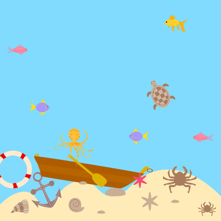 seabed brown boat and anchor. vector illustration 向量圖像