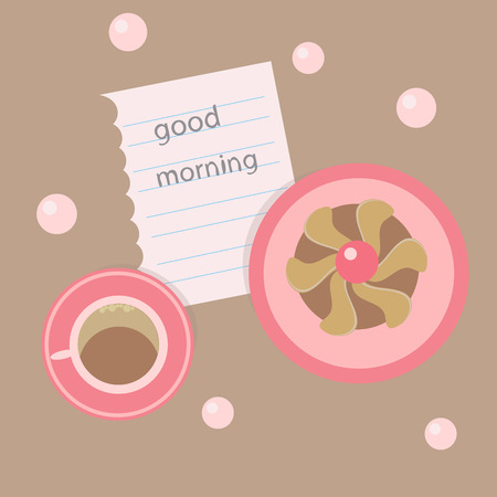 morning black coffee on a brown background