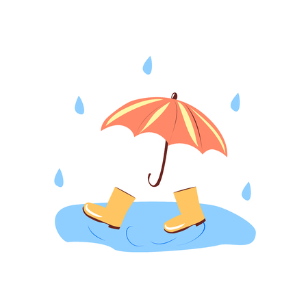 red umbrella and yellow boots in a puddle. vector illustration