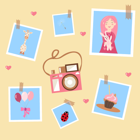 pink camera and photos on a yellow background