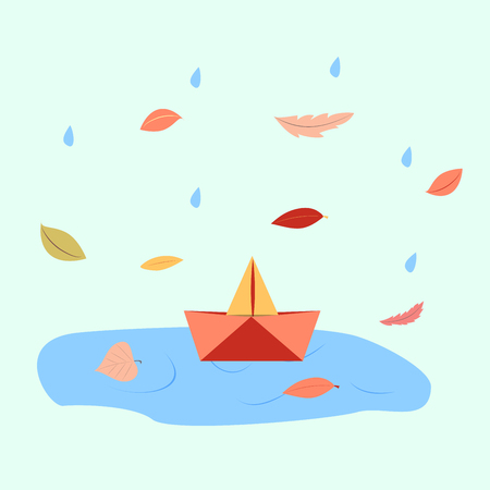 orange paper boat in a puddle of water. vector illustration Çizim