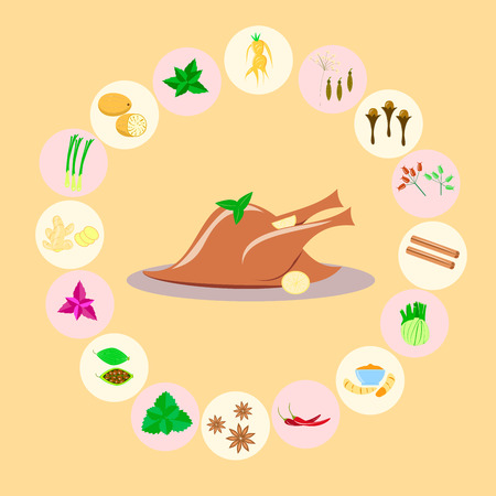 spices for meat. poultry on a yellow background