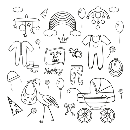 outline set for newborns. baby stroller and clothes on white background. vector illustration