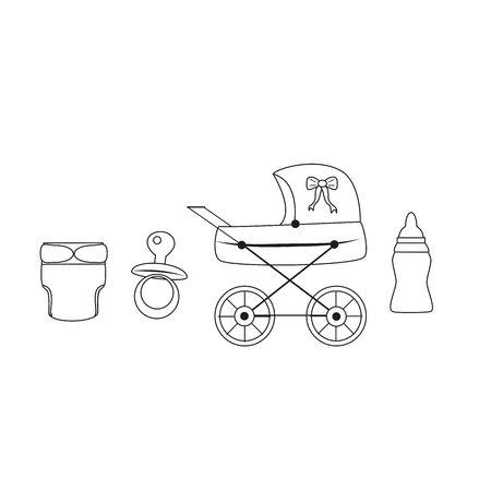 Vintage baby carriage. baby set Illustration