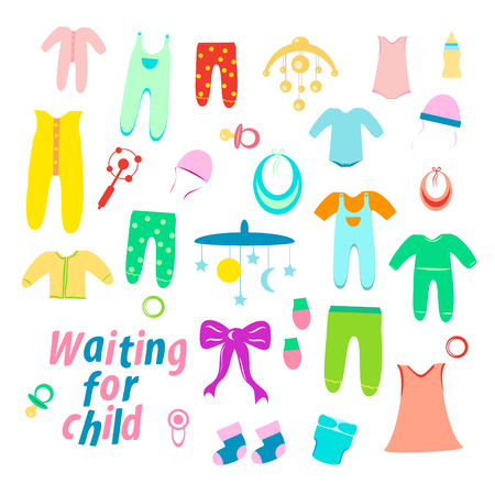 set of baby clothes for newborns. children's toys. for a white background. vector illustration