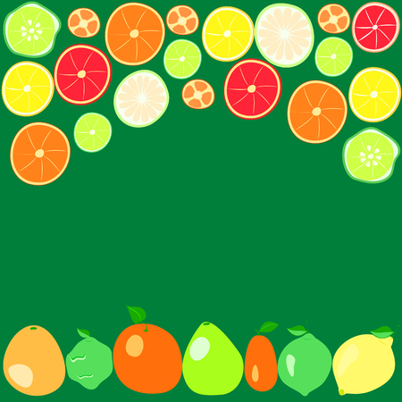 citrus fruits on a green background