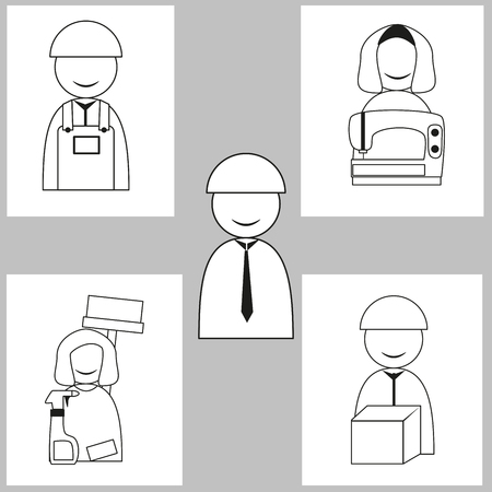 Worker symbol icon. man and woman. vector icon set. simple line design
