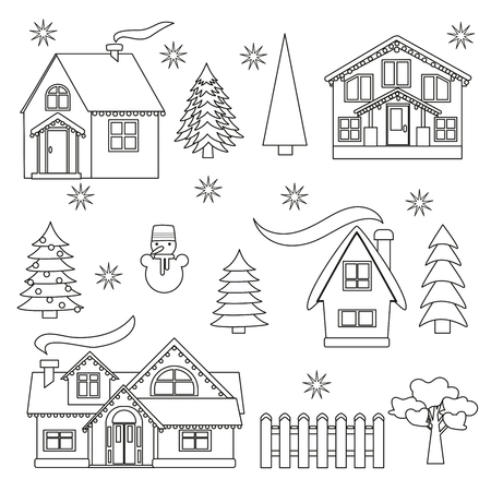 Winter outline set, houses and trees on a white background, vector illustration children's painting Foto de archivo - 114405569