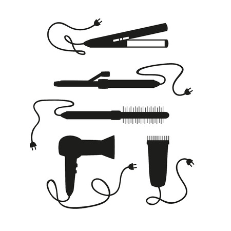 set of hair dryers on a white background Illustration