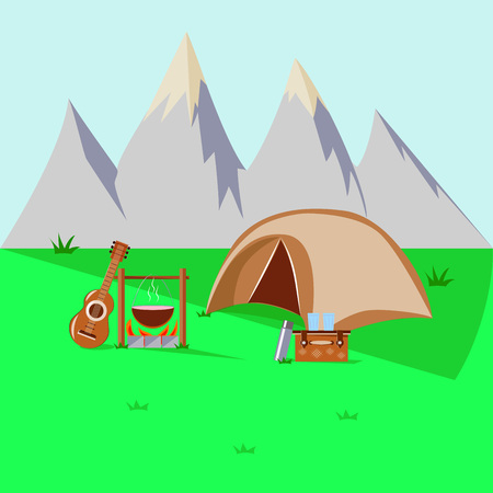 camping in the mountains. guitar and tent Illustration