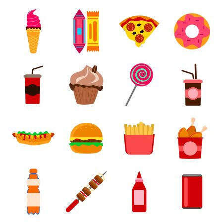 Set of fast food. harmful food is ice cream, donut and soda. vector illustration