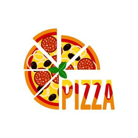 Flat colorful half pizza with sausage. pizzeria menu creative design element Ilustração