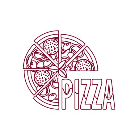 outline pizza with sausage. vector icon