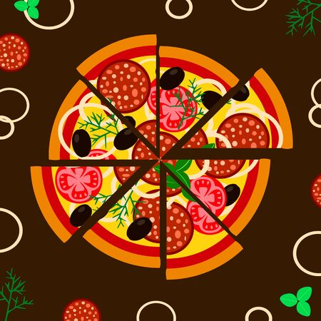 Fresh pizza with sausage, tomatoes, cheese, olives. Traditional Italian fast food. Top view of food. vector illustration