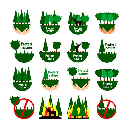 set of forest protection icons. deforestation and forest fires Çizim