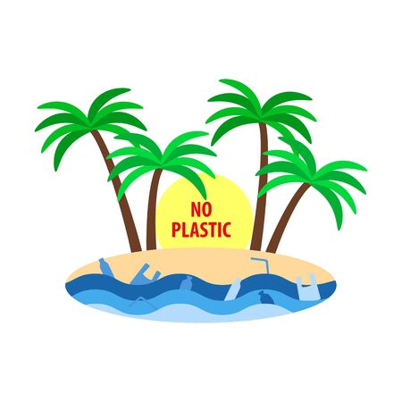 stop plastic ocean pollution poster, tropical island with palm trees, plastic bag and bottles in water, flat style