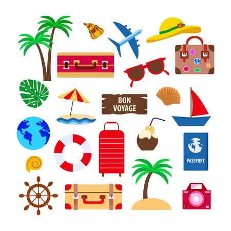 set of objects for travel on white, beach with palm trees and waves, suitcases and a passport and a red sail, vector illustration Çizim