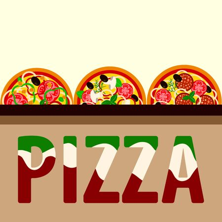 pizza menu design. flyer template with different varieties of pizza. vector illustration