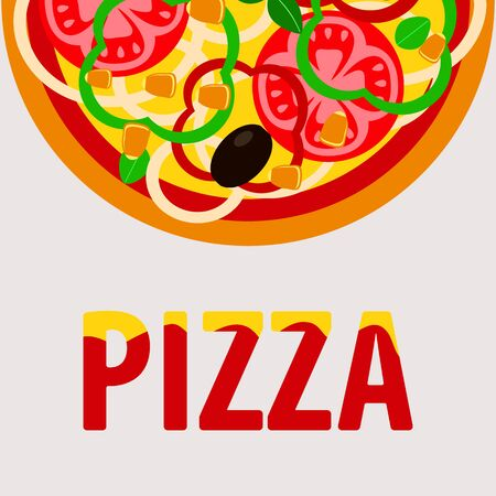 vegetarian pizza with tomatoes and corn, flyer design for the menu