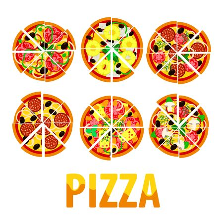 top view of pizza with various ingredients. Italian whole pizza with slices Ilustração