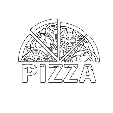 contour of pizza on a white background, design elements for menu