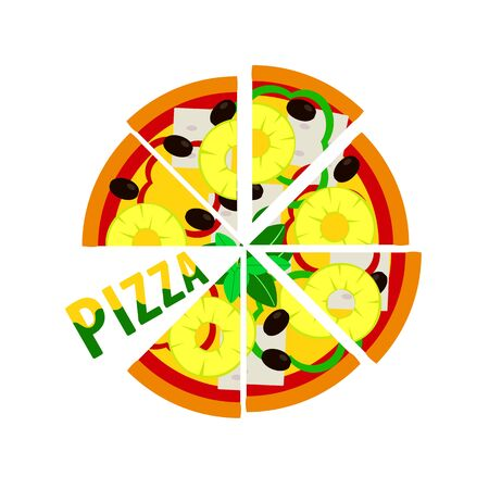 Hawaiian pizza with pineapple, vector illustration for menu and poster