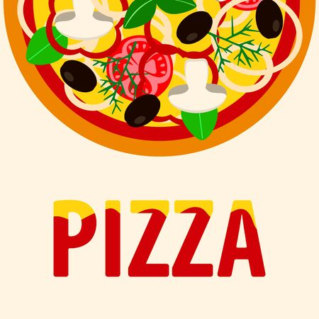 vegetarian pizza with mushrooms and herbs, tomato olives and onions , vector illustration Stock Illustratie