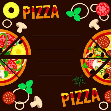 assorted pizza slices and pizza ingredients on a dark brown background. vector illustration