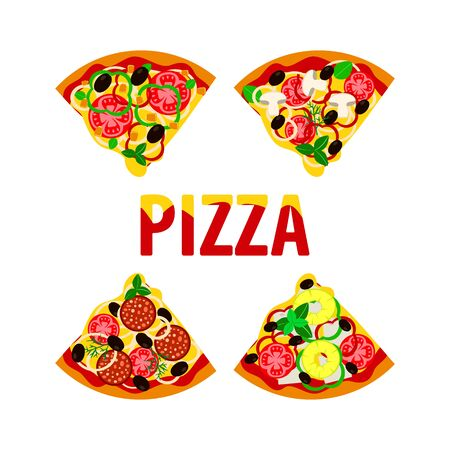 pieces of italian pizza for pizzeria menu, with different ingredients, vector illustration