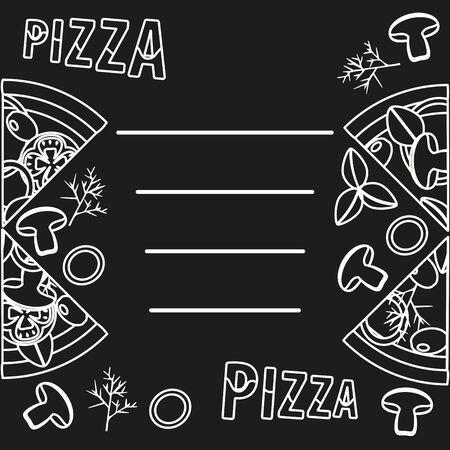 mushroom pizza with sliced chunk, on chalkboard. Delicious pizza menu Ilustração