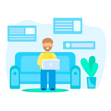 man on the couch with a laptop, concept on the topic of freelance, vector illustration