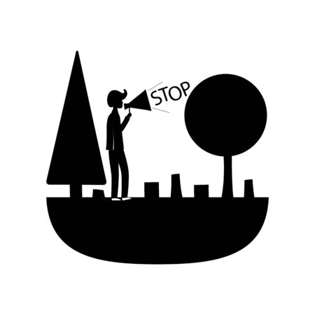 protection of the planet from deforestation, vector icon with a black fill on the theme of nature protection