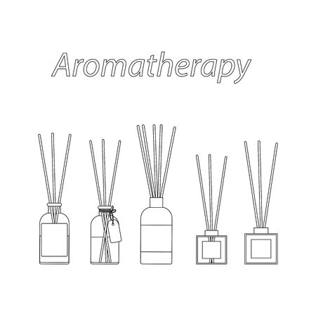 aromatherapy sticks in a glass bottle, vector set of diffuser outline icons on white background