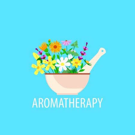 herbal aromatherapy in a mortar with pestle, chamomile and lavender and calendula on a blue background, vector illustration 写真素材 - 131429145