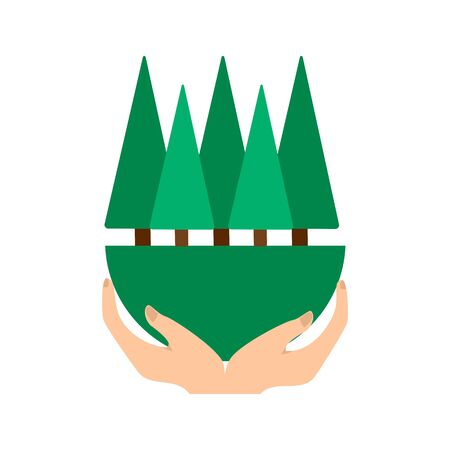 forest protection and protection from deforestation, vector green forest in hands on a white background