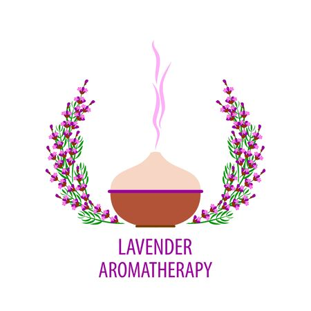 aromatherapy diffuser, lilac lavender branches with flowers on a white background, vector illustration for spa salon