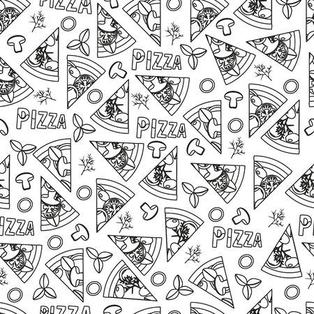 seamless pattern with slices of pizza, fast food vector with cheese and mushrooms and sausage, simple outline style illustration