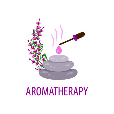 spa stone therapy, sprigs of lavender and essential oil on a white background, vector illustration