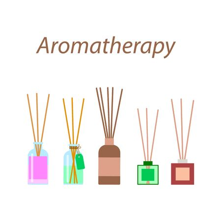 aromatherapy sticks in a glass bottle, vector set of diffusers in a flat style on a white background