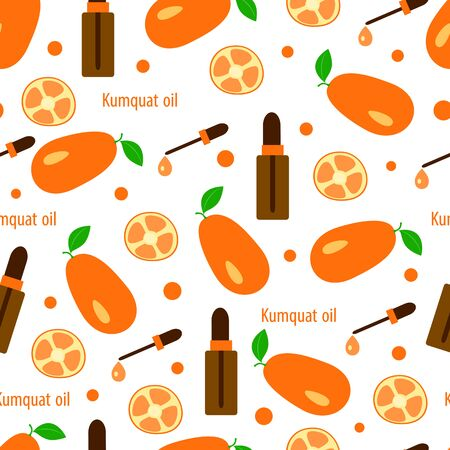 seamless pattern with citrus kumquat and essential oil in bottles with dropper, aromatherapy vector illustration for massage and spa on white background