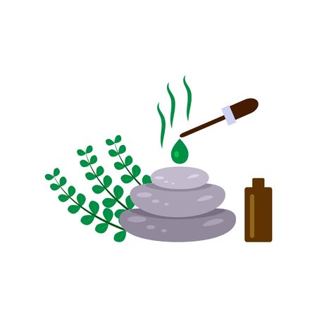 Spa stone therapy, sprigs of eucalyptus and essential oil on a white background, vector illustration in flat style